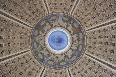 View of the ceiling of the Library of Congress main reading room.