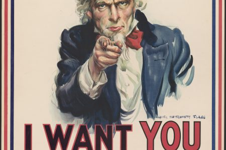 "War poster with the famous phrase ""I want you for U. S. Army"" shows Uncle Sam pointing his finger at the viewer in order to recruit soldiers for the American Army during World War I. The printed phrase ""Nearest recruiting station"" has a blank space below to add the address for enlisting. James Montgomery Flagg"